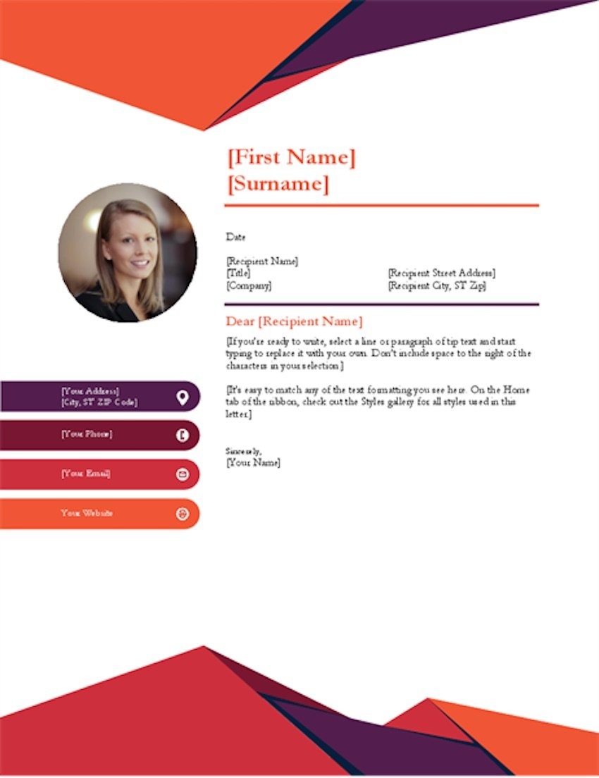 Free cover letter template Word - Contemporary