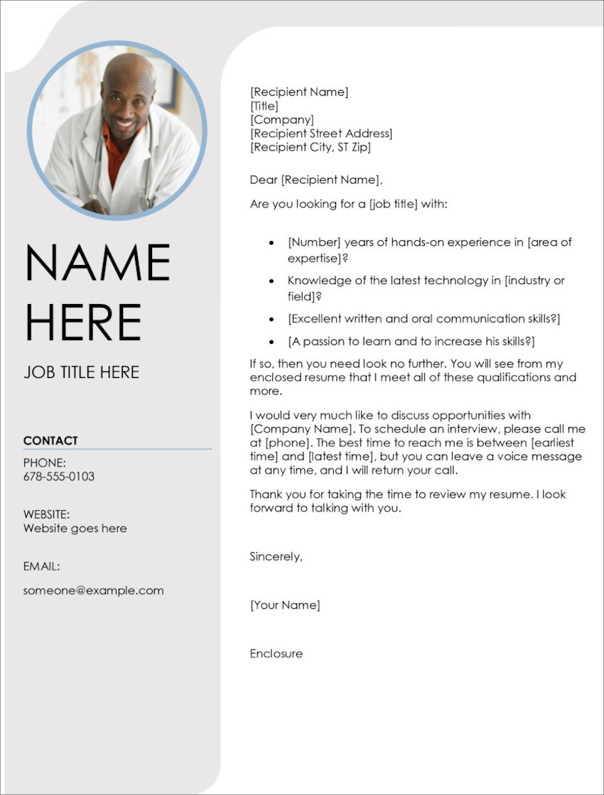 Photo Microsoft Word Cover Letter Template