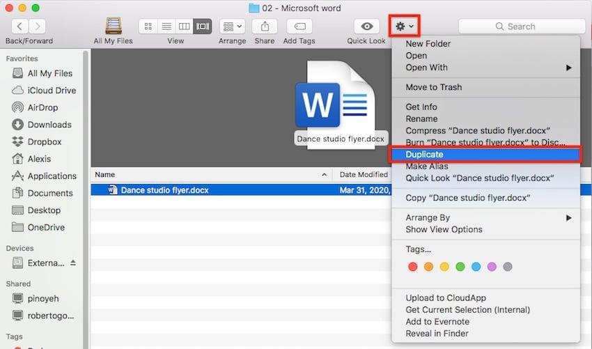 Word template - Duplicate template files