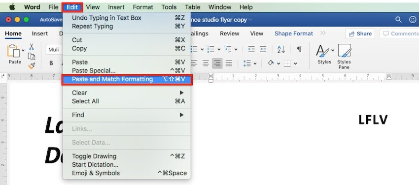 How to change template Word - Copy and paste text