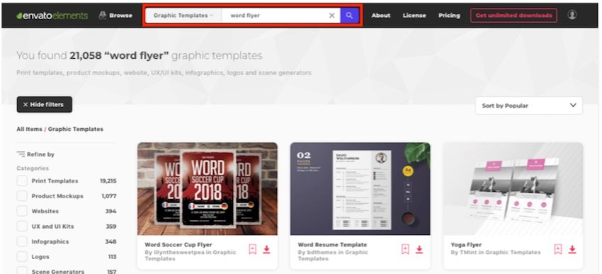 How to find templates in Word - Keyword search in Elements