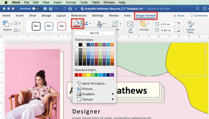 How to change Word templates - Shape format