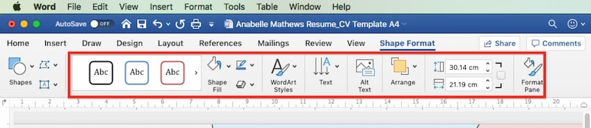 How to change Word templates - Shape format options