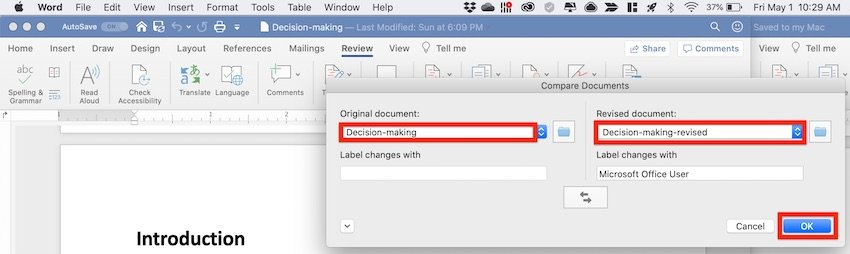 How to compare two Word documents