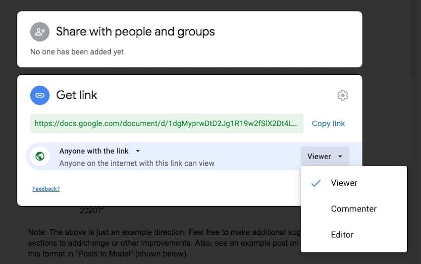 Google Docs - Share Settings