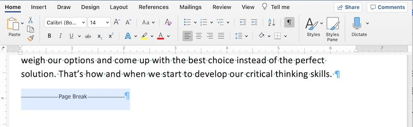How to delete section break in word