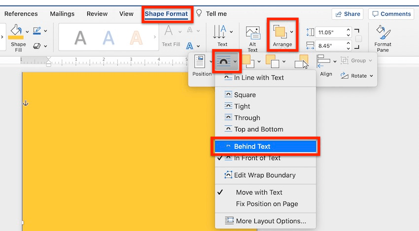 Microsoft Word background - Shape fill