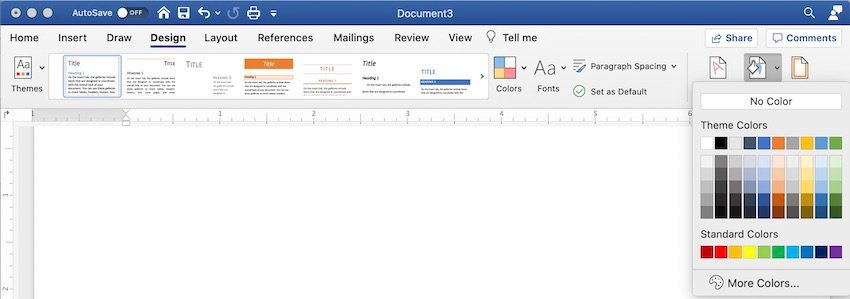 Change background color of Word document - Choose color