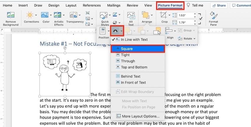 Microsoft clip art - wrap text