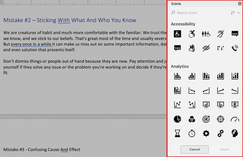 Microsoft clip art - icons sidebar