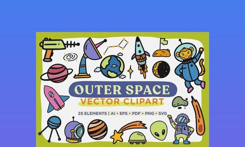 Outer Space Vector Clip Art - Word