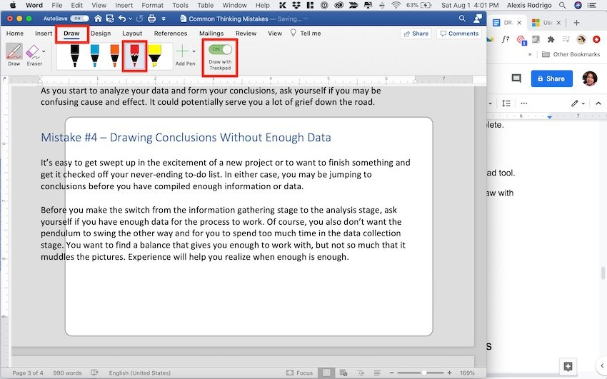 How to Draw in Word - Drawing with the trackpad