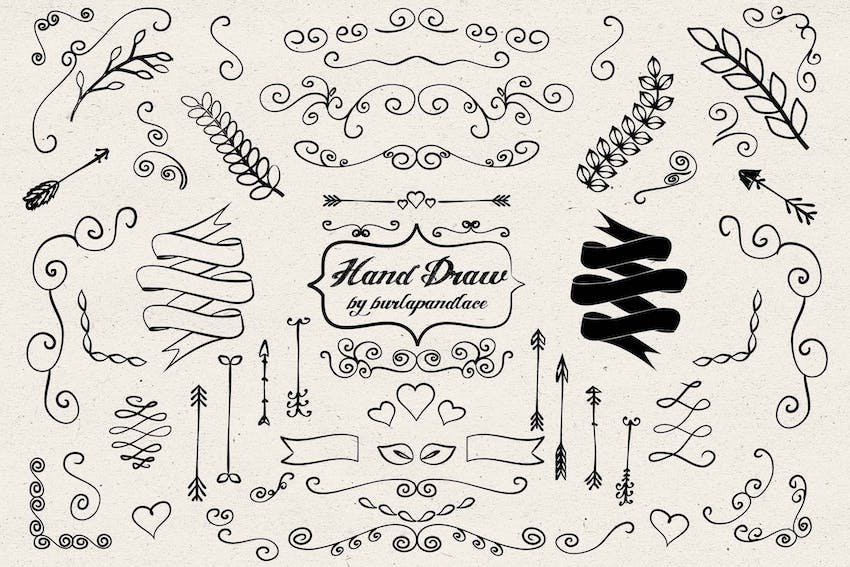 Word Drawings - Hand draw arrows ornament cliparts