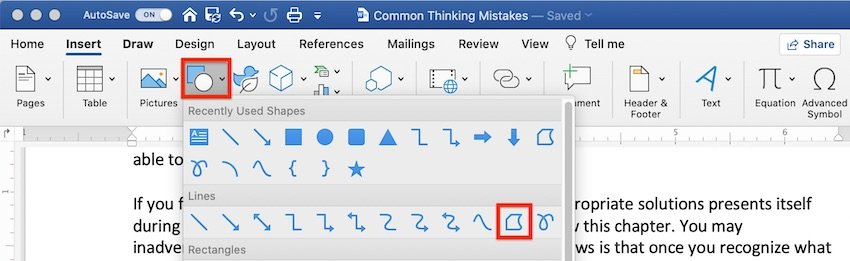 How to draw in Word - Insert a Freeform shape