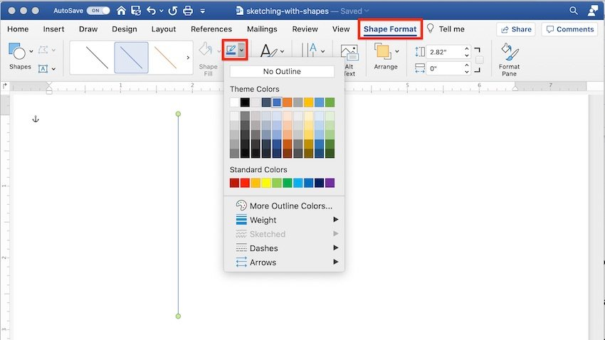 Drawing tools in Word - Format shape