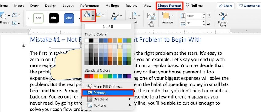 How to Draw in Word - Scribble Shape Fill with a Picture
