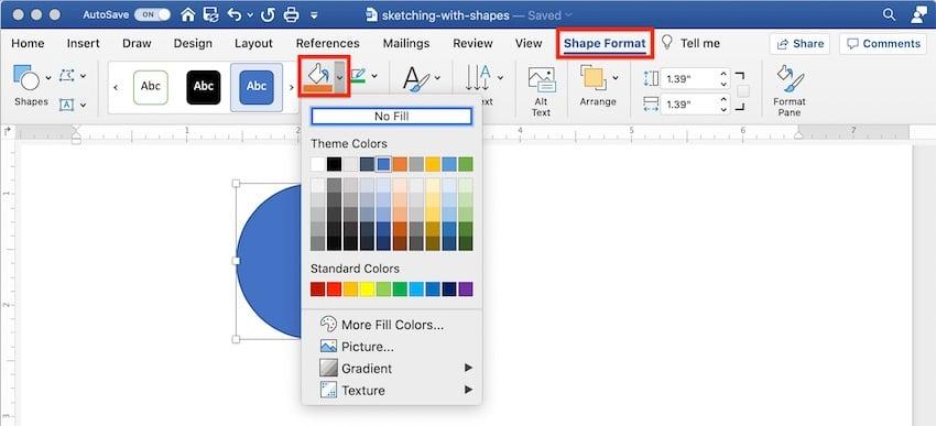 Draw in Microsoft Word - Shape format
