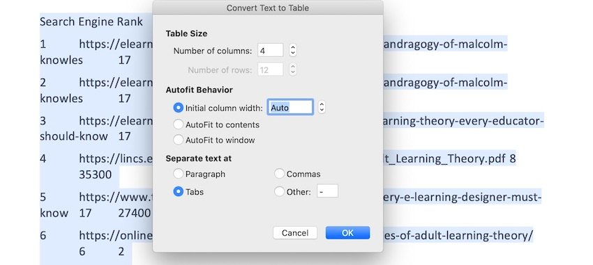 How to insert table in Word - Convert Text to Tables Panel