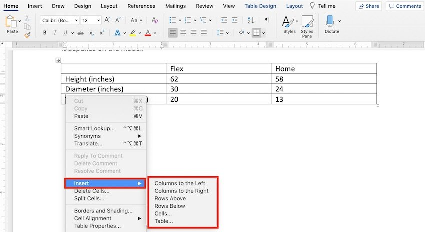 Edit a table in MS Word - Add a column or row