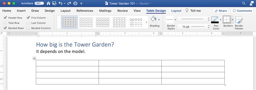 How to make a table in Word - Inserting a table