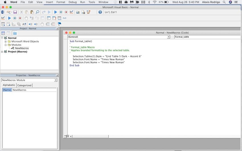 Macros in Word - Microsoft Visual Basic