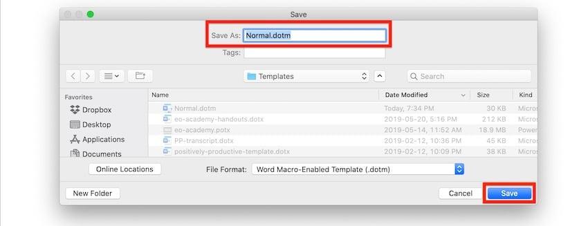 Macros in Word - Save normaldotm