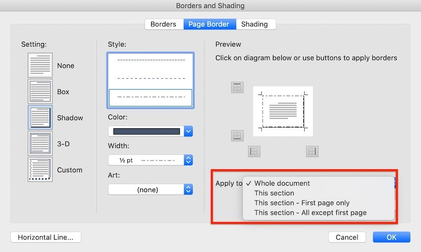 How to add border in Word - Apply border to