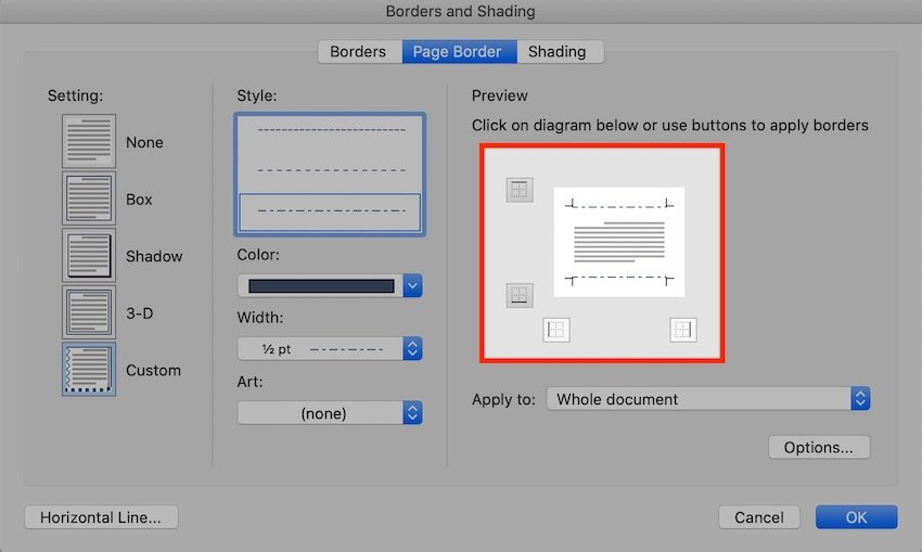 How to add border in Word - Left and Right Borders