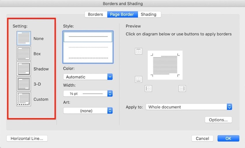 Word borders -Page Border Settings