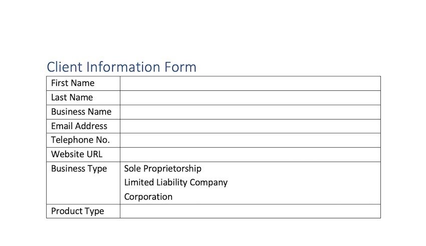 how to create a fillable form in word - table