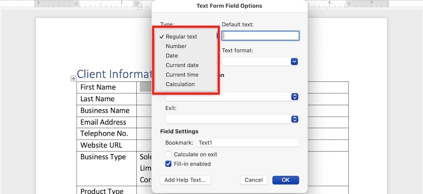 how to make a fillable form in word - text types