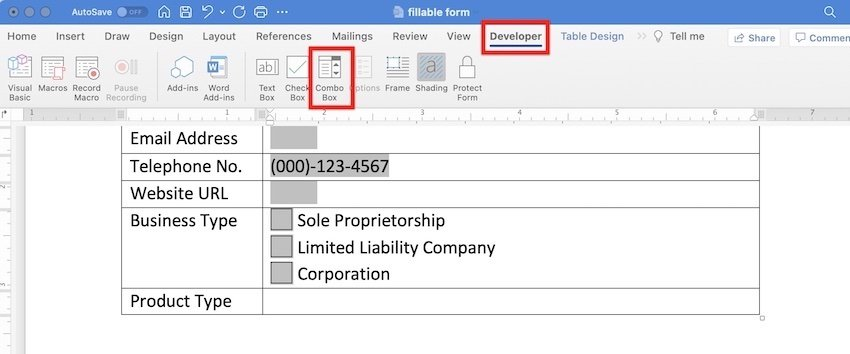 how to create a fillable word document - dropdown menu