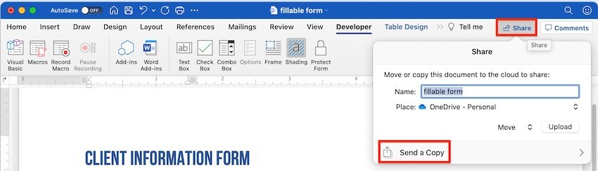 how to create a fillable form in word - share fillable form
