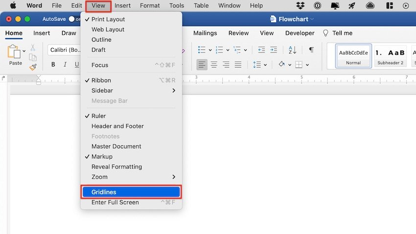 how to make a flowchart in word - gridlines