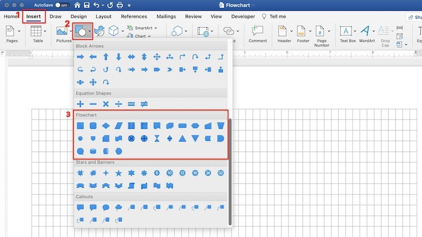 how to make a flowchart in word using shapes