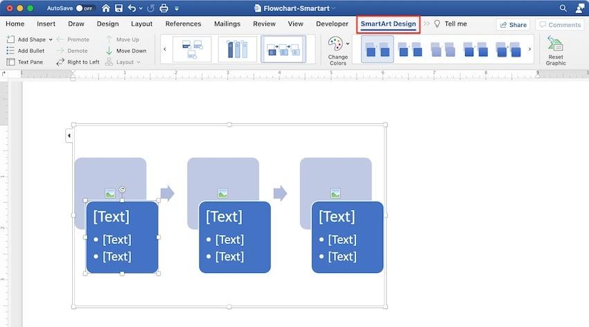 create flowchart in word - SmartArt Design
