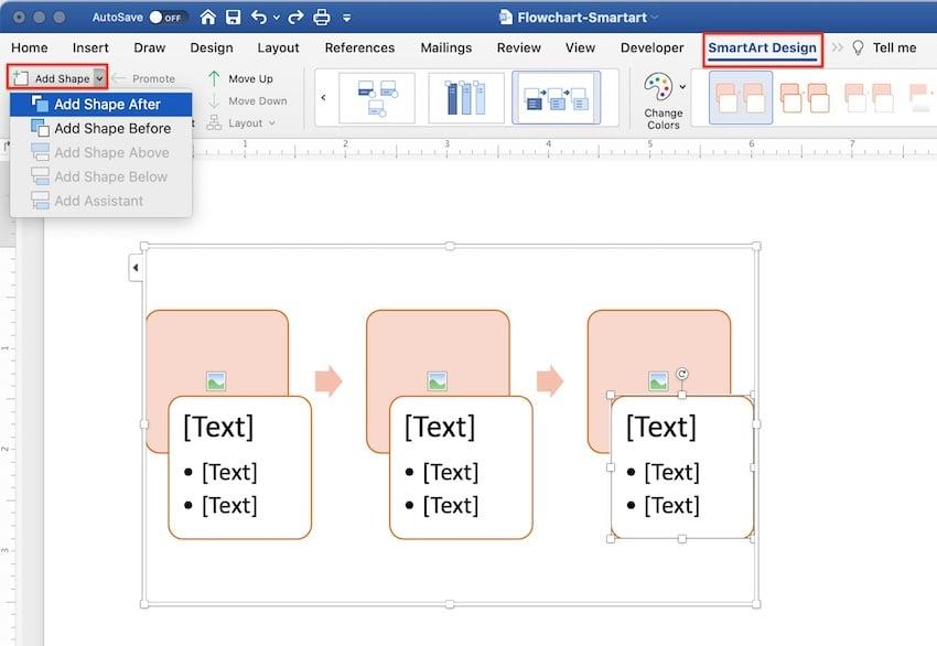 create flowchart in word - add steps in smartart