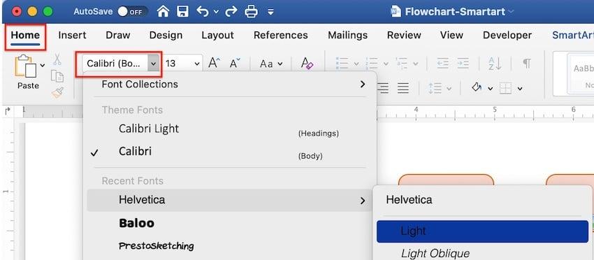 create flowchart in word - smartart format text