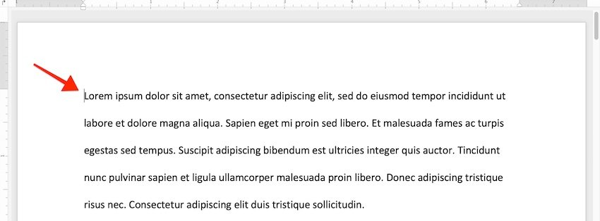 first line indent word