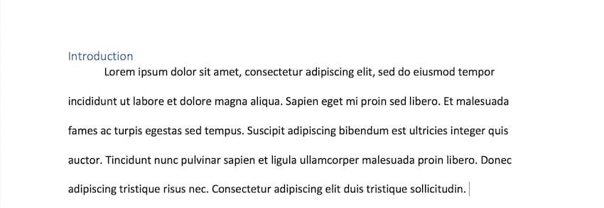 microsoft word indent