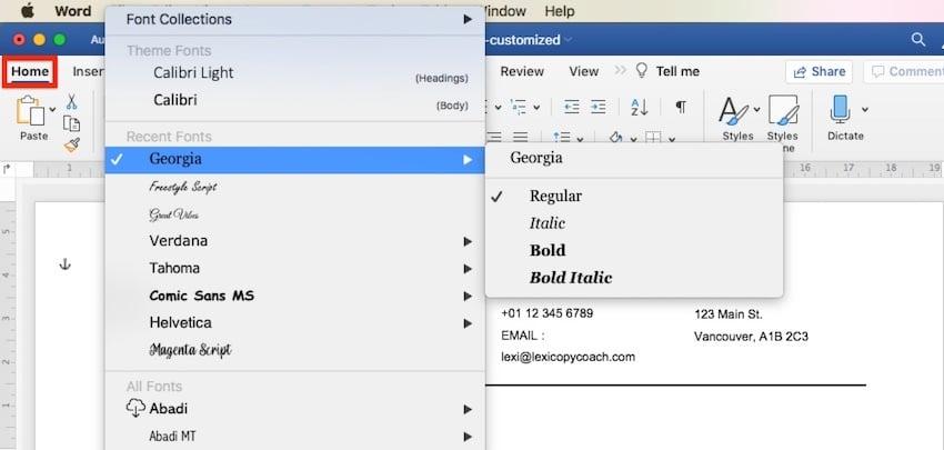 receipt template word - change fonts