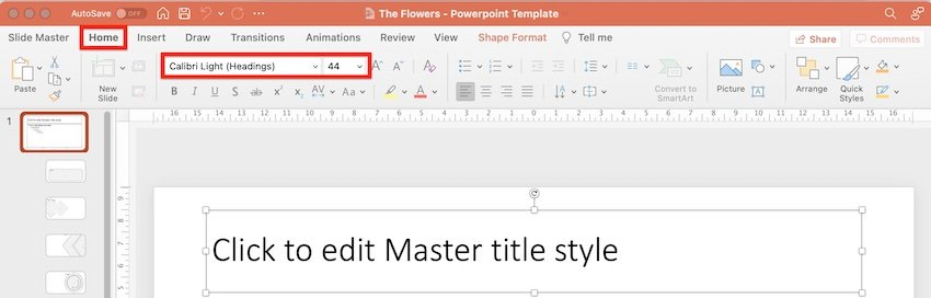 ppt on flowers - change font