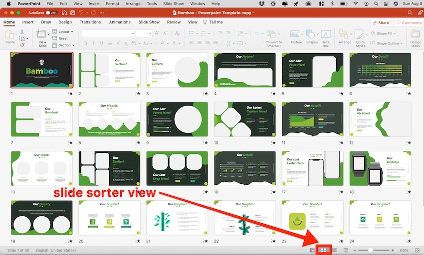 how to do family tree in powerpoint - slide sorter view
