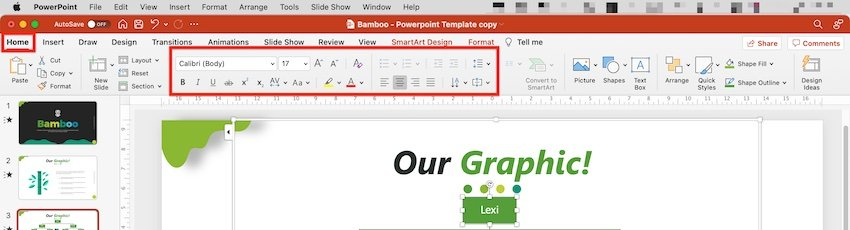 family tree powerpoint - smartart change fonts and colors