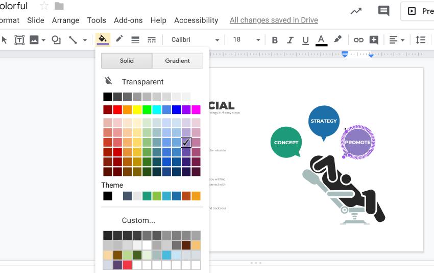 Color palette for Google Slides infographic