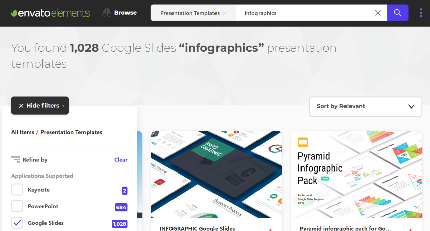 Search Envato Elements for Google Slides infographic templates