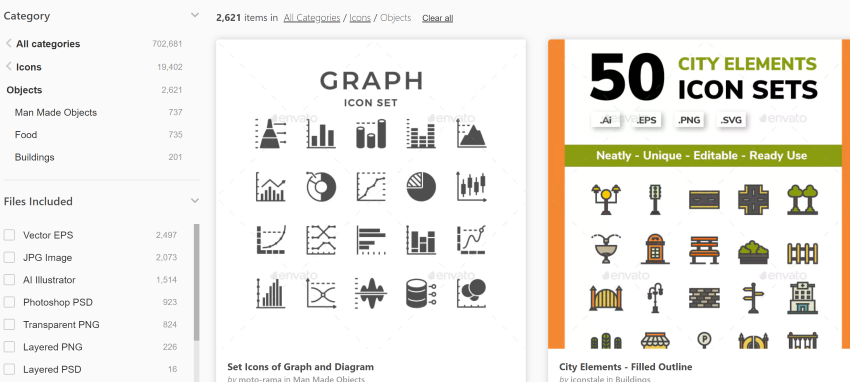 GraphicRiver search for infographic presentation icons