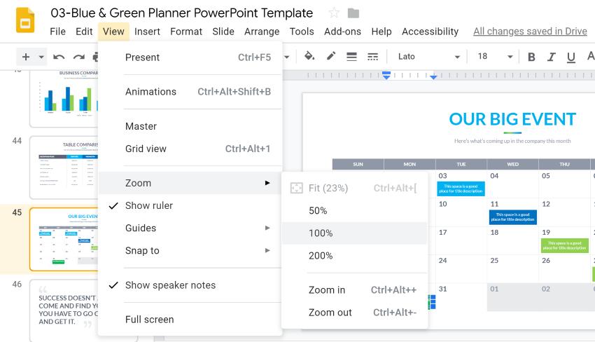 Zoom to edit Google Slides template calendar