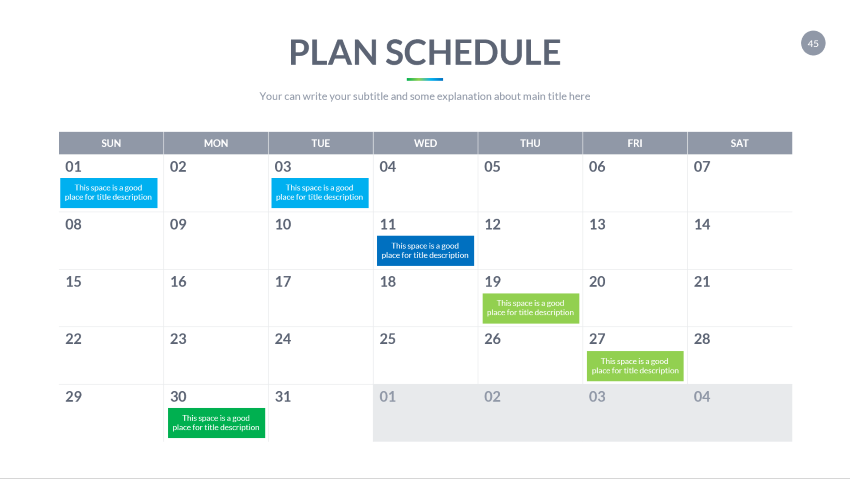 editable calendar slide