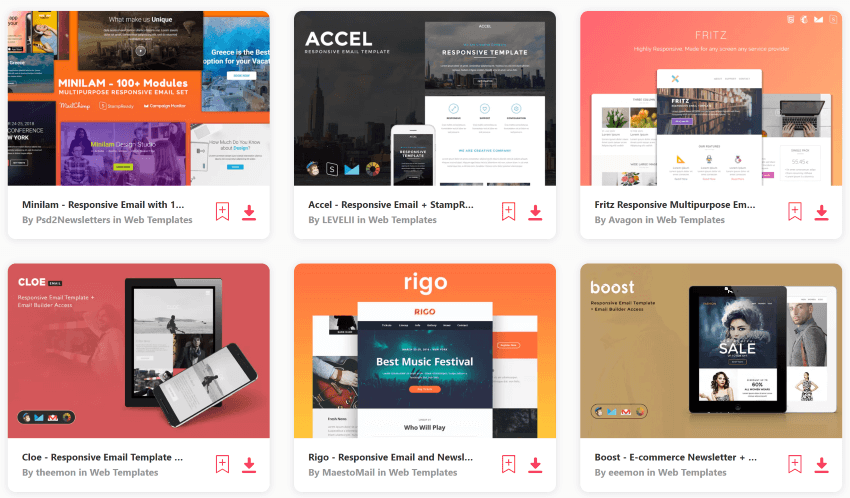 mailchimp responsive email templates free download with Envato Elements